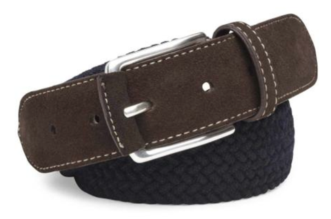 Peter Millar Braided Wool Belt - Navy