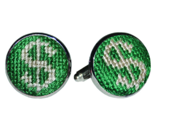 Smathers & Branson Dollar Sign Needlepoint Cufflinks
