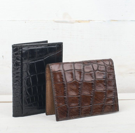 Martin Dingman Classic Alligator Grain I.D. Wallet - Brown