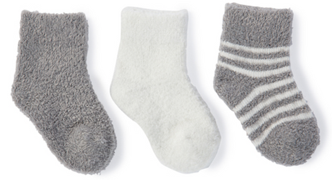 Barefoot Dreams Cozychic Lite Infant Socks 3 pack - Pewter and Pearl