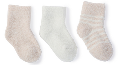 Barefoot Dreams Cozychic Lite Infant Socks 3 pack - Pink and Pearl