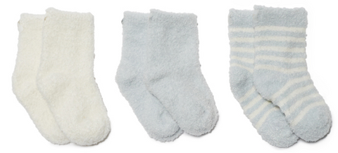 Barefoot Dreams Cozychic Lite Infant Socks 3 pack - Blue and Pearl
