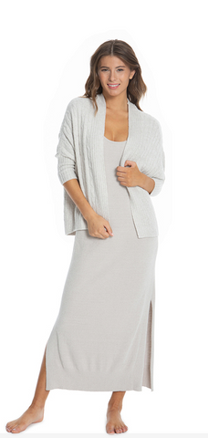 Barefoot Dreams CozyChic Lite Cable Shrug - Heathered Silver/Pearl