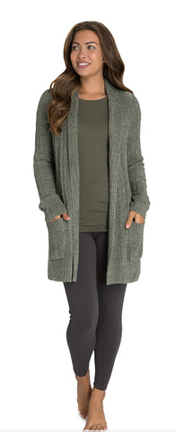 Barefoot Dreams CozyChic Lite Cable Cardi - Heathered Olive/Loden