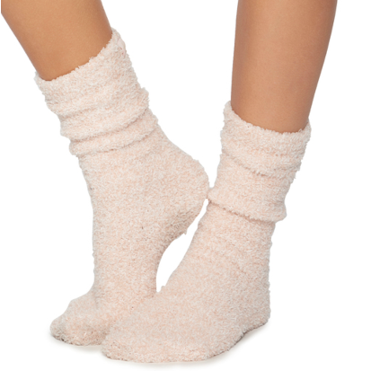 Barefoot Dreams CozyChic Heathered Socks -Dusty Rose/White