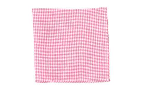 High Cotton Watermelon Linen Gingham Pocket Square