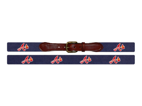 Smathers & Branson Atlanta Braves Needlepoint Belt - Navy