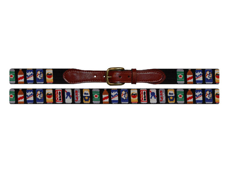 Smathers & Branson Beer Cans Needle Point Belt - Black