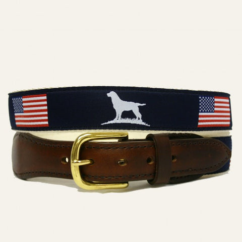 Over Under Ribbon Belt American Flag & Lab Belt