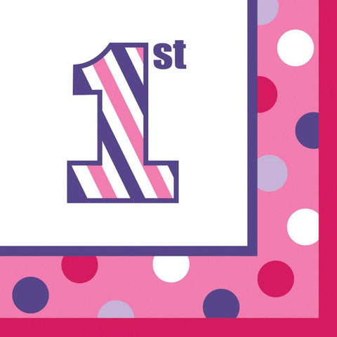 1st Birthday Girl Sweet Stripes Lunch Napkins (16)
