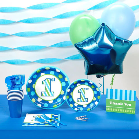 1st Birthday Boy Sweet Stripes Basic Party Pack