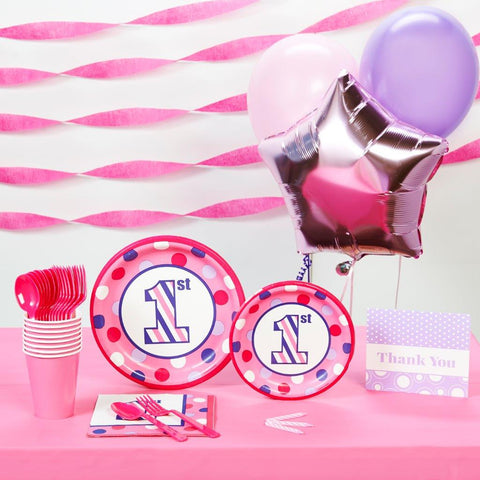 1st Birthday Girl Sweet Stripes Basic Party Pack