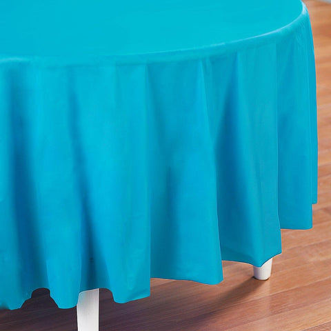 Bermuda Blue (Turquoise) Round Plastic Tablecover