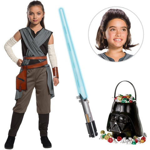 Star Wars Episode VIII: The Last Jedi - Girl's Rey Costume with Wig and Lightsaber Bundle