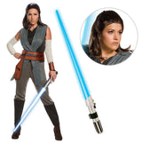 Star Wars Episode VIII: The Last Jedi - Women's Deluxe Rey Costume with Wig and Lightsaber