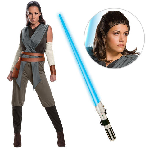 Star Wars Episode VIII: The Last Jedi - Women's Classic Rey Costume with Wig and Lightsaber