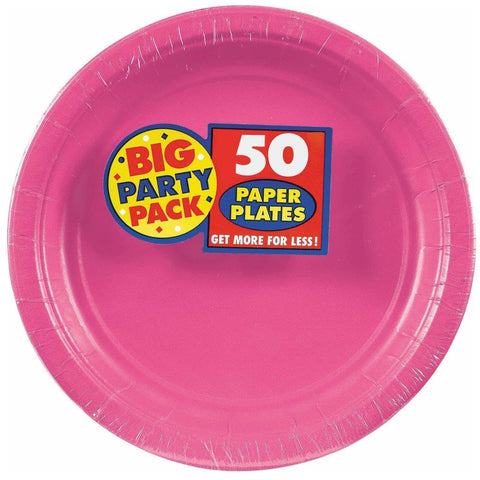 Bright Pink Big Party Pack Dinner Plates