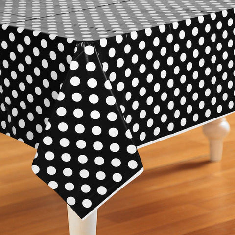 Black and White Dots Plastic Tablecover