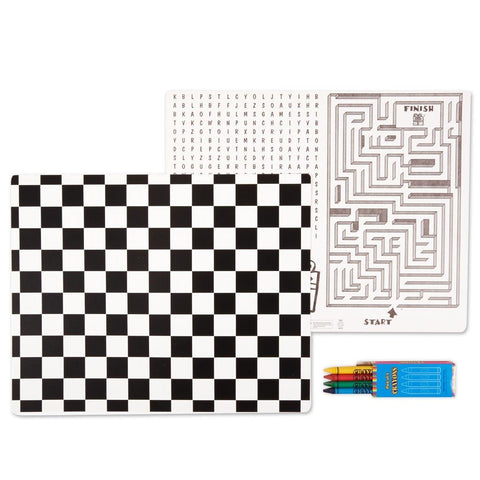 Black and White Check Activity Placemat Kit for 4