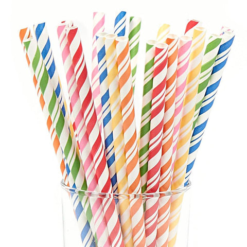 Assorted Striped Paper Straws