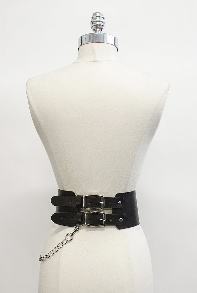 Oversized Buckle Belt with Chain