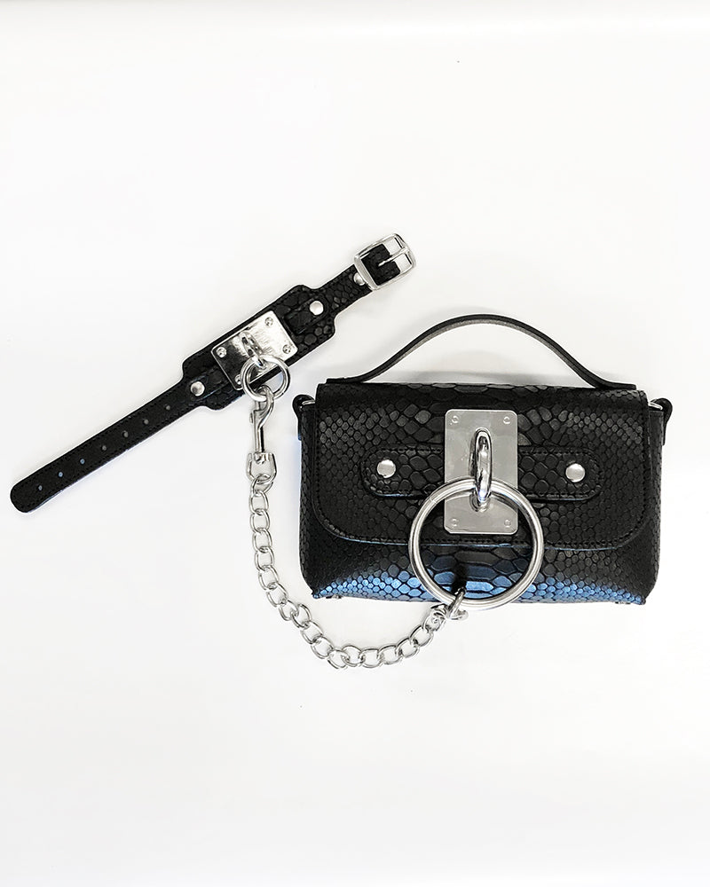Mini Choker Bag - Black Snake (embossed)