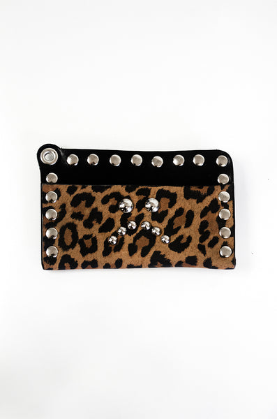 Studded Card Wallet - *Limited Edition Leopard*