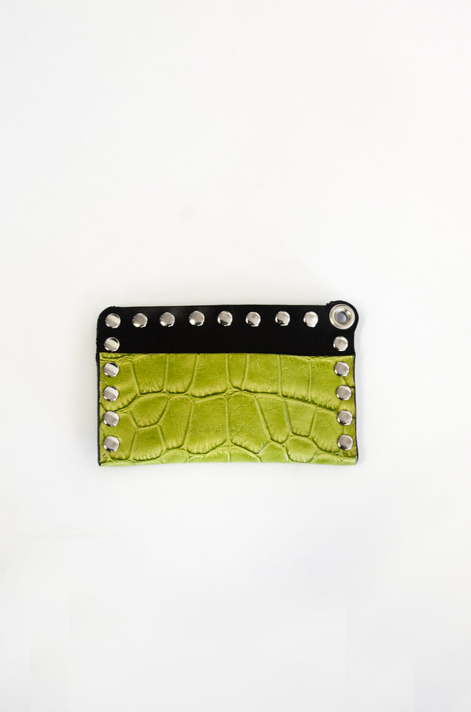 Studded Card Wallet - Croc