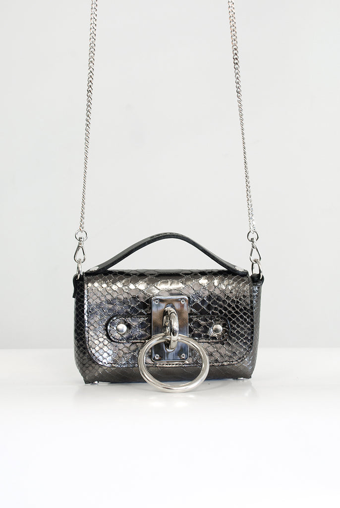 Mini Choker Bag - Black Metallic Snake (embossed)