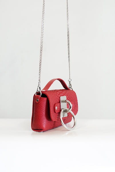 Mini Choker Bag - Red Snake (embossed)
