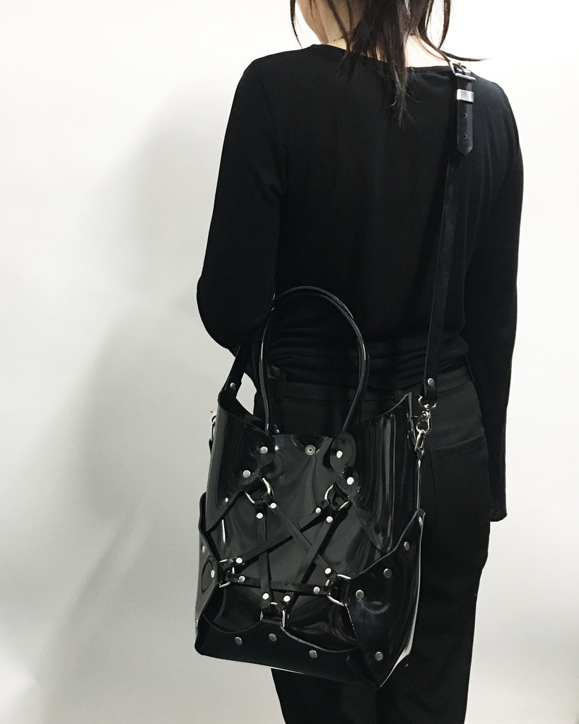 Pentagram Handbag - Black PVC