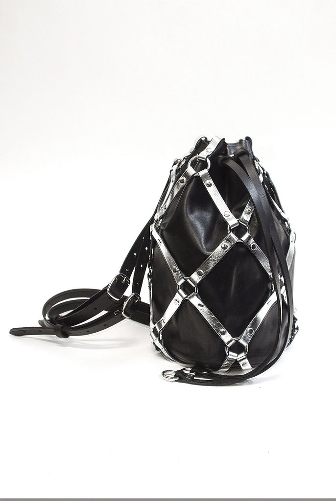 Linked Bucket Backpack - Black & Silver