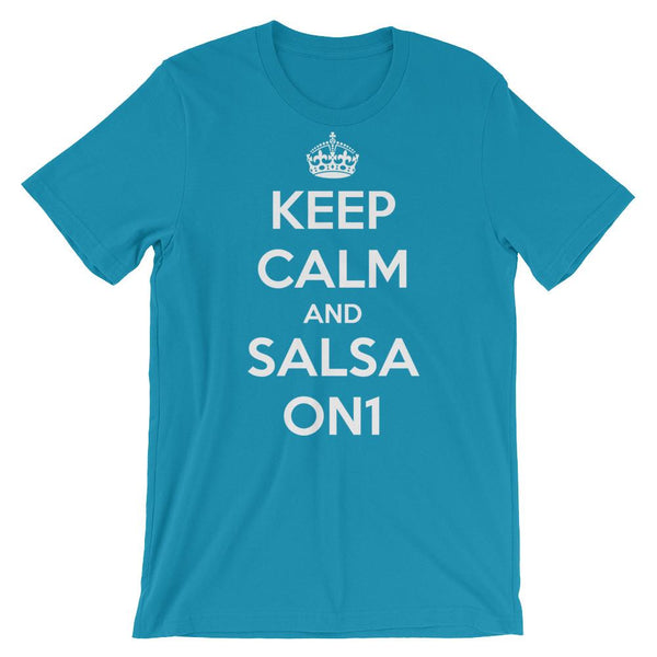 Keep Calm and Salsa On 1 - Men's T-Shirt (Aqua)