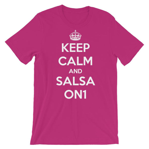 Keep Calm and Salsa On 1 - Men's T-Shirt (Berry)
