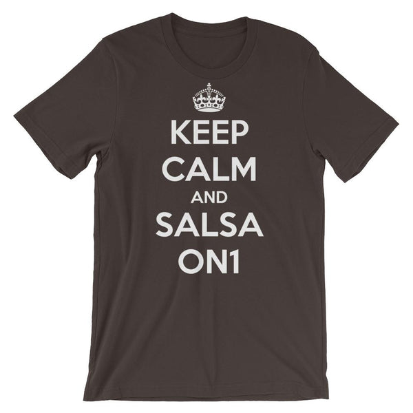 Keep Calm and Salsa On 1 - Men's T-Shirt (Brown)