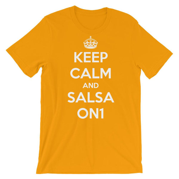 Keep Calm and Salsa On 1 - Men's T-Shirt (Gold)