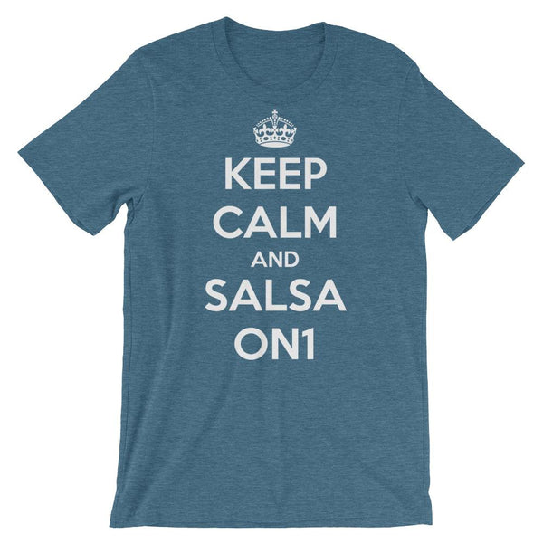 Keep Calm and Salsa On 1 - Men's T-Shirt (Heather Deep Teal)
