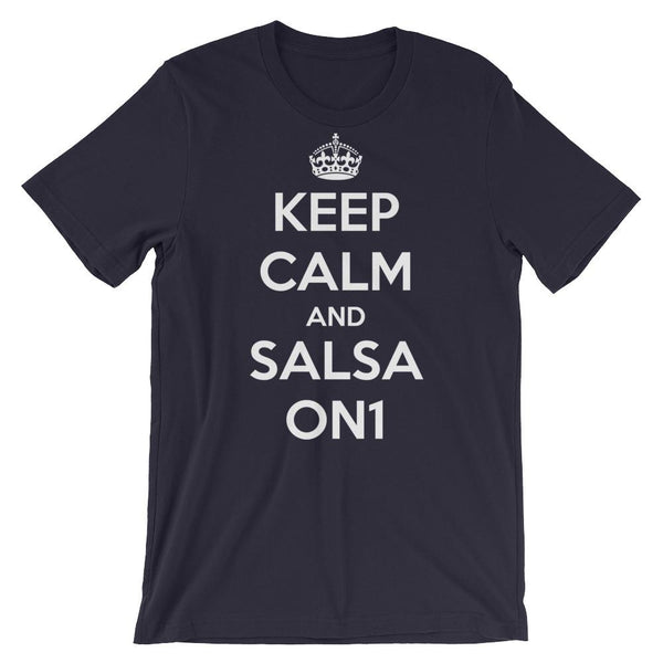 Keep Calm and Salsa On 1 - Men's T-Shirt (Navy)