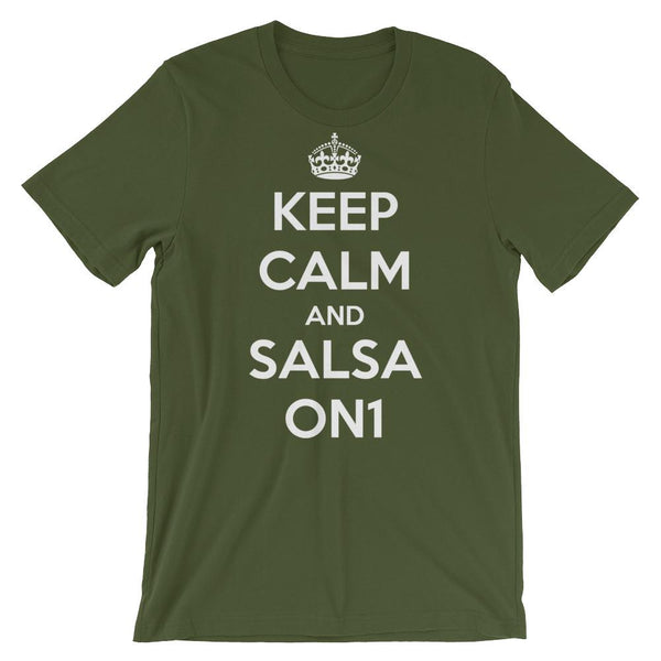 Keep Calm and Salsa On 1 - Men's T-Shirt (Olive)