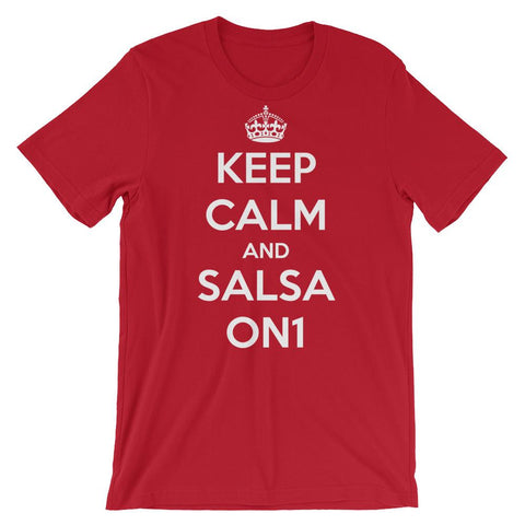 Keep Calm and Salsa On 1 - Men's T-Shirt (Red)