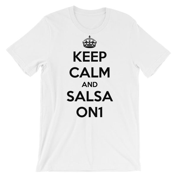 Keep Calm and Salsa On 1 - Men's T-Shirt (White)
