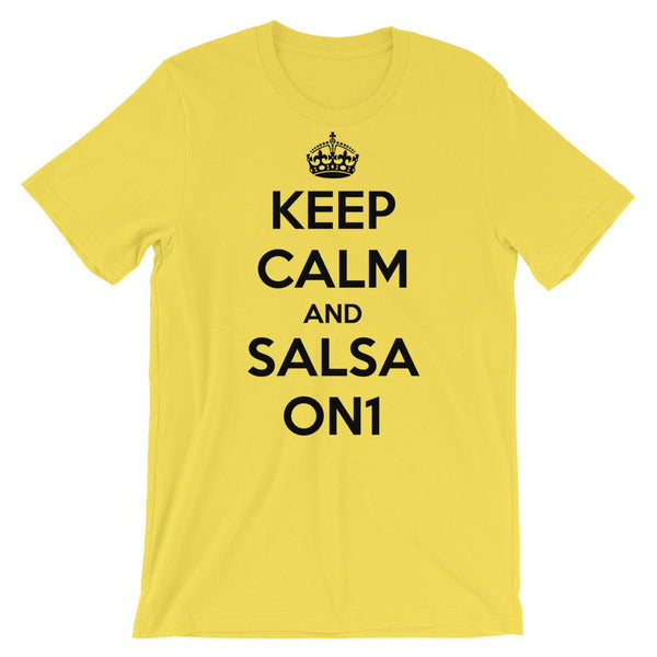Keep Calm and Salsa On 1 - Men's T-Shirt (Yellow)