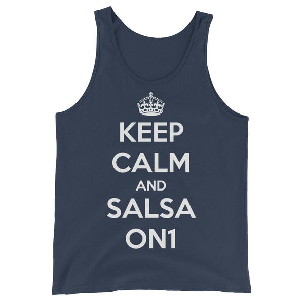 Keep Calm and Salsa On 1 - Men's Tank Top (Navy)