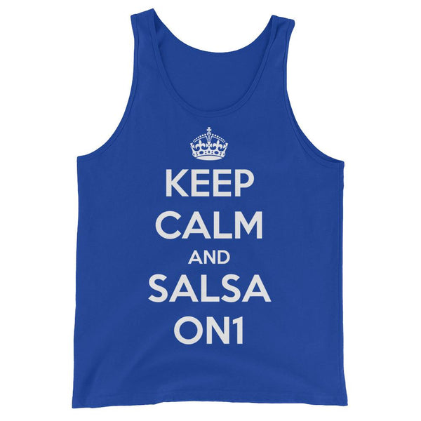 Keep Calm and Salsa On 1 - Men's Tank Top (True Royal)
