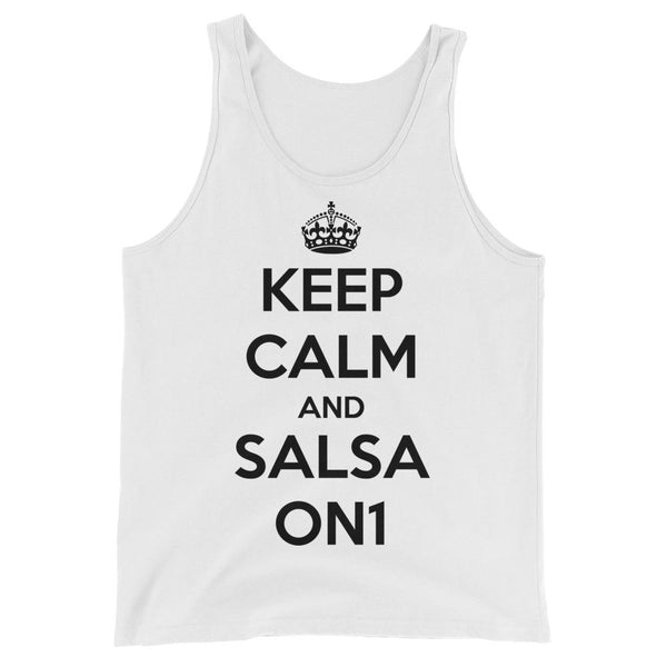 Keep Calm and Salsa On 1 - Men's Tank Top (White)