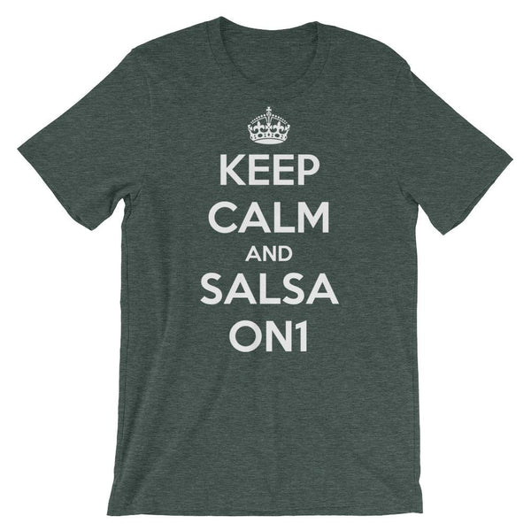 Keep Calm and Salsa On 1 - Women's T-Shirt (Heather Forest)