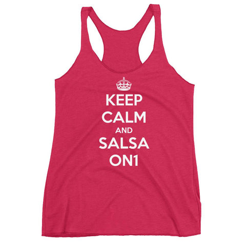 Keep Calm and Salsa On 1 - Women's Tank Top (Vintage Shocking Pink)
