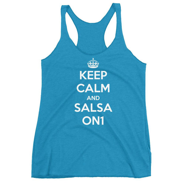 Keep Calm and Salsa On 1 - Women's Tank Top (Vintage Turquoise)