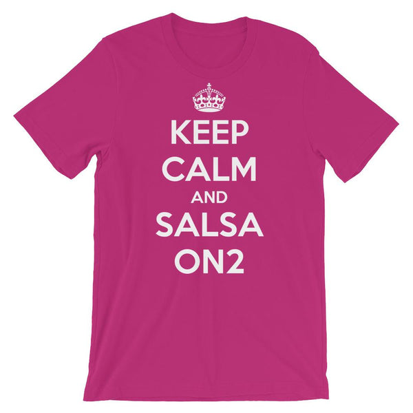 Keep Calm and Salsa On 2 - Men's T-Shirt (Berry)