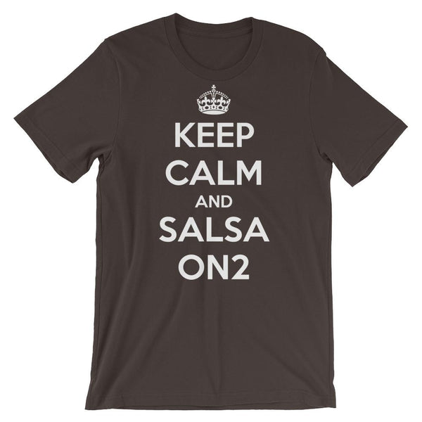 Keep Calm and Salsa On 2 - Men's T-Shirt (Brown)